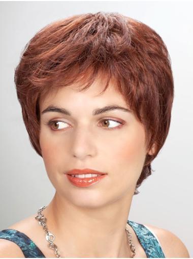 "Straight 8"" Short Synthetic Auburn Cheap Mono Wigs"
