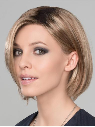 """Straight 10"""" Chin Length Synthetic Blonde Ready To Wear Monofilament Wigs"""