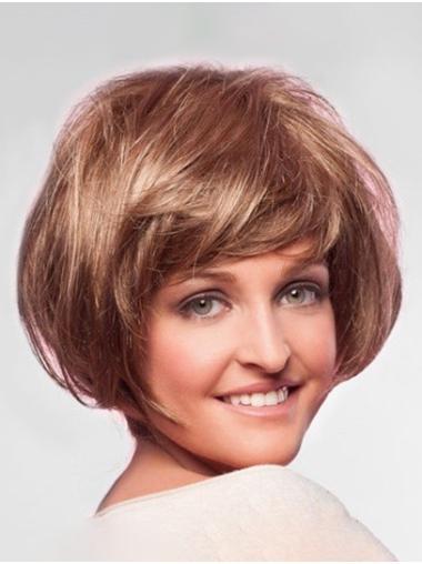 "Chin Length Monofilament 10"" Blonde Short Bob Hairstyles"