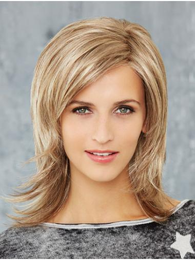 """Straight 14"""" Shoulder Length Synthetic Blonde Newest Mono Wigs"""