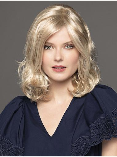 """Curly 14"""" Shoulder Length Synthetic Platinum Blonde The Best Monofilament Wigs"""