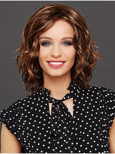 "Wavy 12"" Auburn Layered Chin Length Lace Front Wigs"