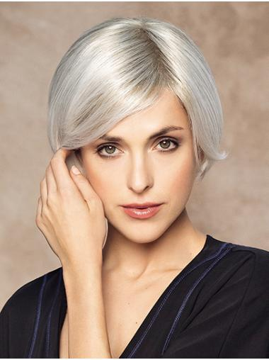 "Without Bangs Monofilament Short Platinum Blonde 8"" 100 Human Hair Wigs"