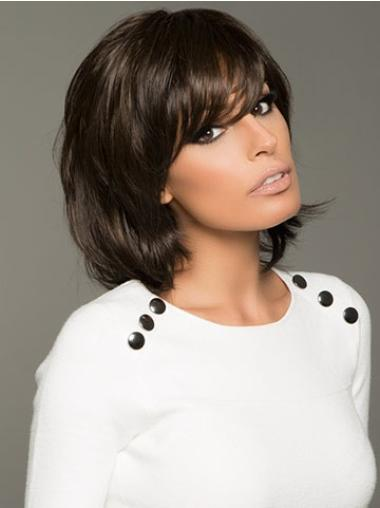 12 Inches Wavy Black Monofilamentblack Women Hair Wig