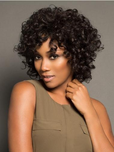 10 Inches Curly Black Lace Front Good Wigs For Black Women