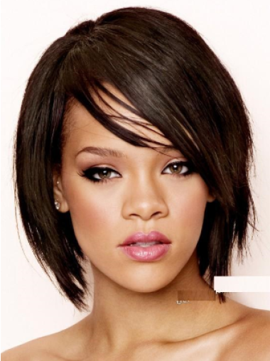 Black With Bangs Straight Designed Wig Rihanna Wore In Sos Video