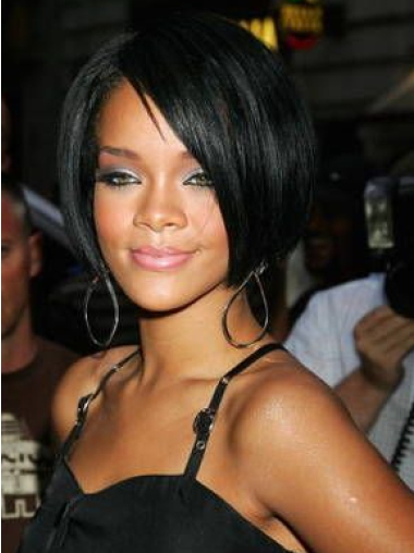 Black With Bangs Straight Hairstyles New Rihanna Wig