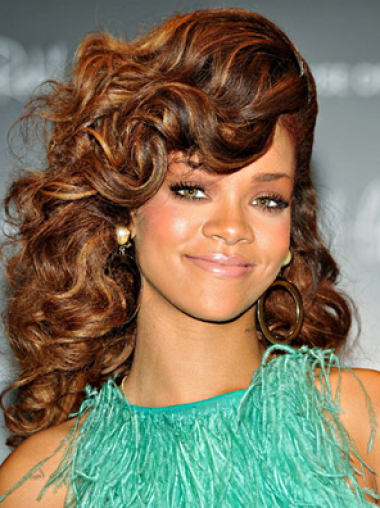 Lace Front Layered Long 18 Inches Durable Rihanna Style Wigs Sexy Curly
