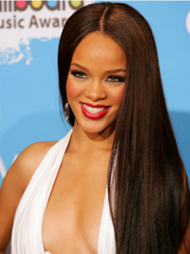 Lace Front Without Bangs Long 24 Inches Convenient Rihanna Hairstyle