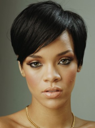 Black Straight Remy Human Hair Discount Lace Front Wig Rihanna