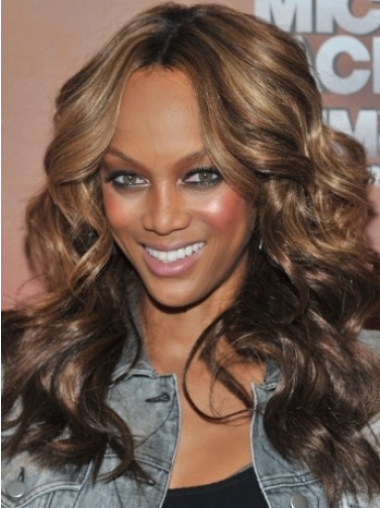 Lace Front Without Bangs Wavy 18 Inches Durable Tyra Human Hair Wig