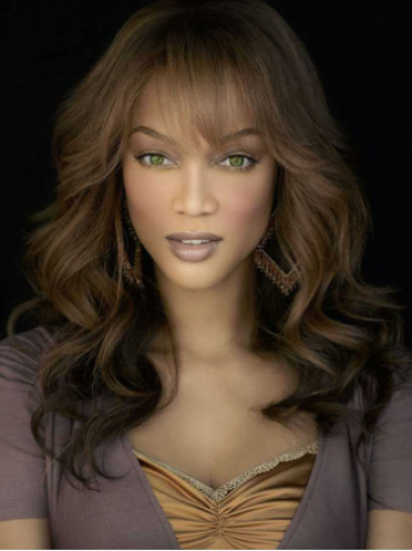 Wavy With Bangs Lace Front Human Hair Extentions For Black Women