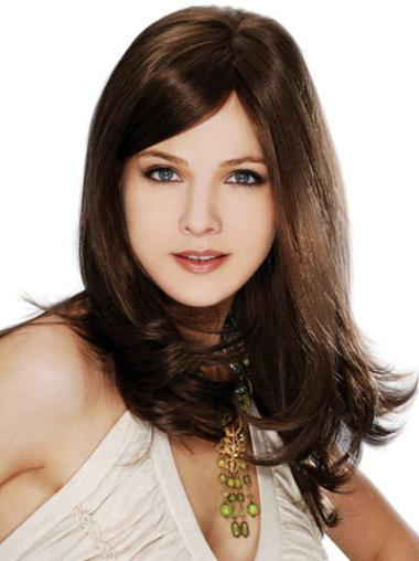 Suitable Straight Brown 100% Human Hair Hand Tied Wigs