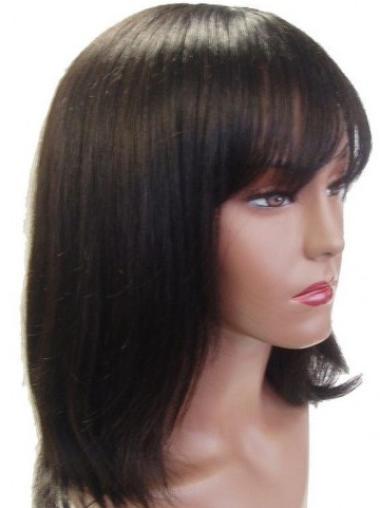 Straight Brown Capless Cheap Shoulder Length Human Hair Wigs