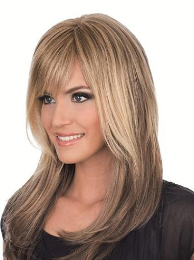 Brown Straight Layered Long Affordable Full Lace Human Hair Wigs
