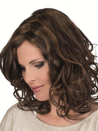 Brown Layered Shoulder Length Remy Human Curly Hair Wigs