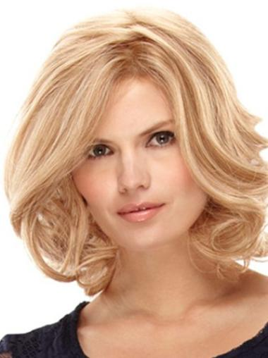 Fashionable Layered Blonde Curly Human Hair Wigs Shoulder Length