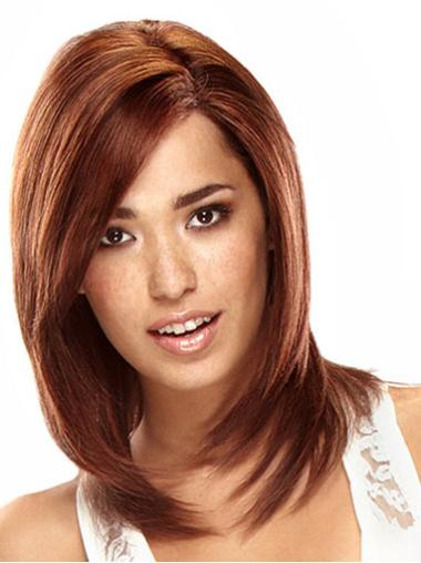 Layered Auburn Shoulder Length Real Human Hair Lace Front Wigs