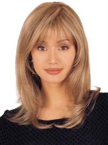 No-Fuss Layered Shoulder Length Blonde Lace Front Wig Human Hair
