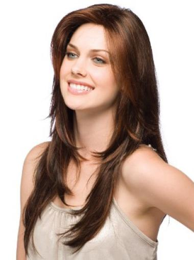 Exquisite Layered Auburn Long Natural Human Hair Wigs