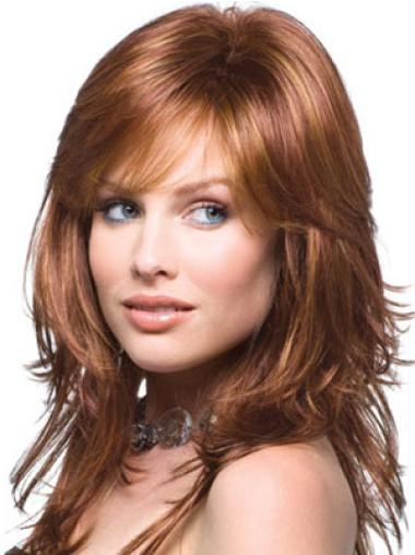Auburn Capless Layered Cheap Long Human Hair Wig