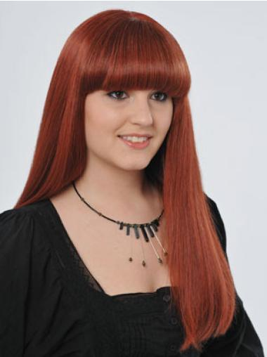 Long Red With Bangs Trendy Red Human Hair Hand Tied Wigs