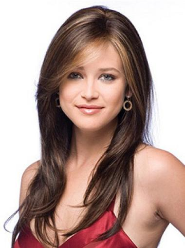 Auburn Layered New Remy Fine Long Human Hair Wigs