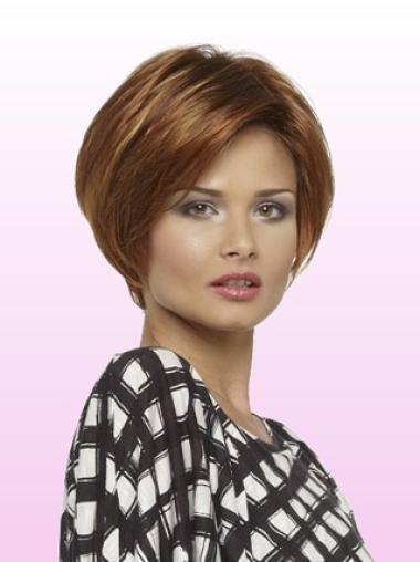 Short Auburn Stylish Lace Bob Cut Lace Wigs Human Hair
