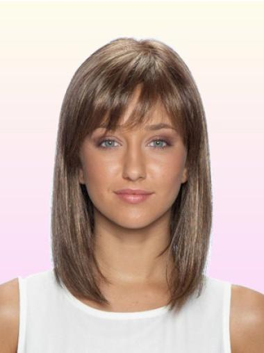 Shoulder Length Brown With Bangs Classy Indian Remy Human Hair Wigs