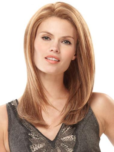Monofilament Without Bangs Cheap Long Blonde Human Hair Wigs