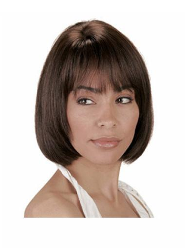 Straight Chin Length Brown High Quality 8 Inch Human Hair Bob Wig