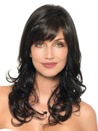 Capless Long Sleek Black Wavy Human Hair Wigs