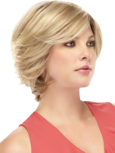 Wavy Blonde Flexibility Human Hair Short Wigs With Bangs