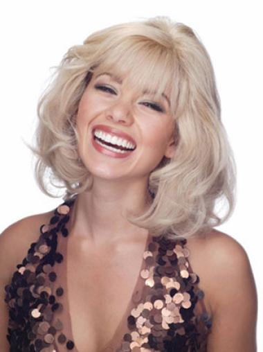 Shoulder Length Wavy Designed Blonde Wig With Bangs Human Hair