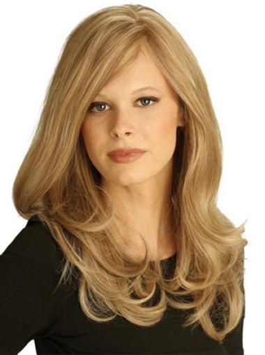 Wavy Long Layered Beautiful Human Hair Blonde Hand Tied Wigs