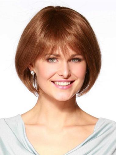 Cheap Bobs Auburn Chin Length Monofilament Auburn Human Wigs