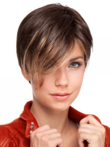 Amazing Boycuts Auburn Human Hair Lace Front Short Wigs