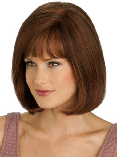 Affordable Bobs Chin Length Auburn Silk Top Human Hair Wig