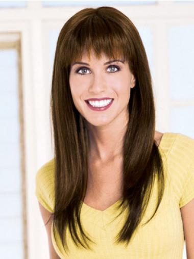Capless With Bangs Brown Cheap Wigs Long Human Hair