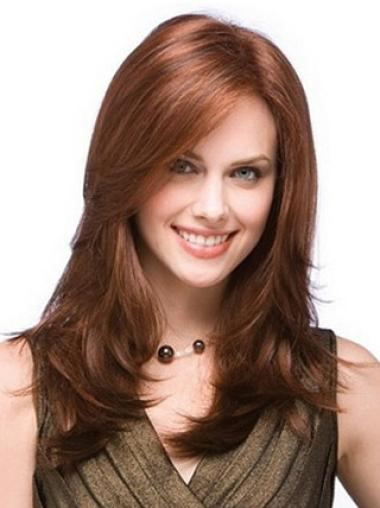 "Auburn Long Layered 18"" Discount 100% Human Hand Tied Wigs"
