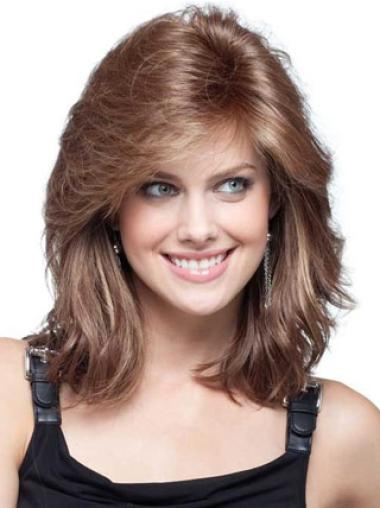 "Auburn Shoulder Length 16"" Incredible Remy Human Hair Wigs With Bangs"