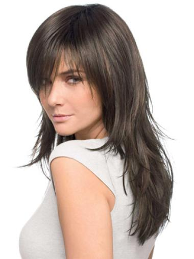 "Brown Layered 20"" Cheap Wigs Human Hair Long"