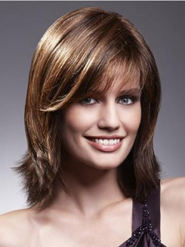 Brown Shoulder Length Best Human Hair Wig With Bangs
