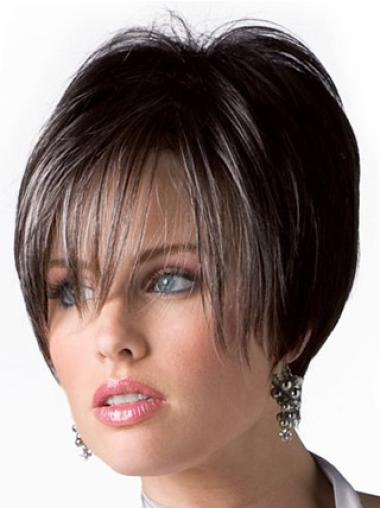 Ideal Short Boycuts Brown Straight Dark Brown Women'S Wig Human