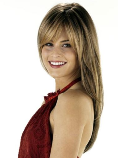 Exquisite Long Brown Straight Remy Brown Human Hair Wig With Bangs