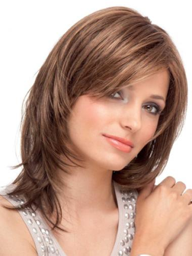 "Durable Straight Lace Front 14"" Remy Auburn Human Wigs With Bangs"