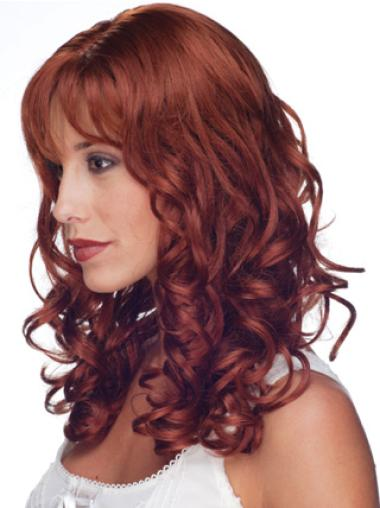 "Soft Red Curly 16"" Curly Hand Tied Curly Human Hair Wigs With Bangs"