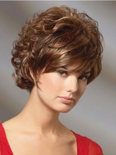 New Short Layered Auburn Human Hair Wigs Curly
