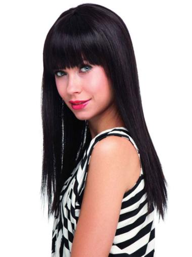 Straight Hairstyles Long With Bangs 1B Human Hair Long Wig