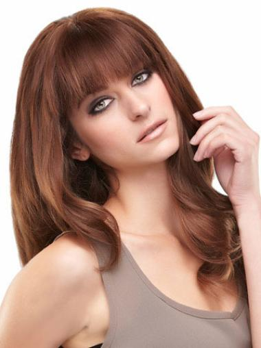 Auburn Straight Best Remy Long Human Hair Wigs With Bangs